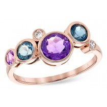 14K Yellow, White or Pink 1.38CT TW Amethyst, Blue Topaz and Diamond Champagne Bubbles Ring