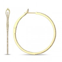 Diamond Hoop Earings Yellow Gold