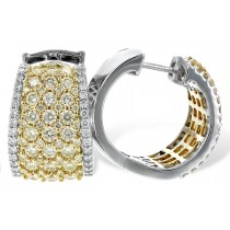 14K Two Tone 2.45CT TW Yellow and White Diamond Hoop Earrings