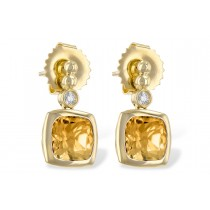 14K Yellow Gold 1.70CT TW Citrine and Diamond Post Earrings