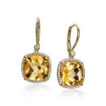 Checkerboard Cut Citrine Earrings
