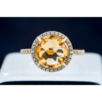 Citrine & Diamond Halo Ring