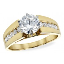 14K Gold Yellow, White or Rose Diamond Engagement Ring with Channel Set Side Stones