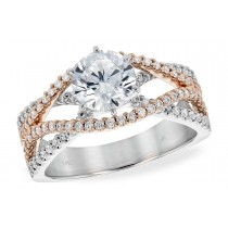 14K White, Rose and White or Yellow and White Diamond Cross Over Engagement Ring