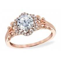 14K Gold Rose, White or Yellow Diamond Fancy Halo Style Engagement Ring