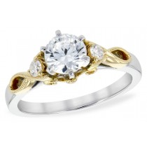 14K Gold White and Yellow Fancy Diamond Engagement Ring with Single Diamond on Each Side of Center