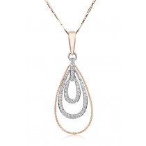 Triple Loop Gold and Diamond Pendant