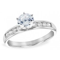 14K White Gold White, Yellow or Rose Channel Set Diamond Engagement Ring