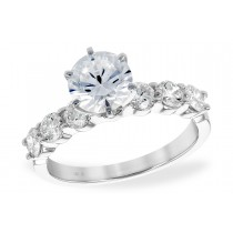 14K Gold White, Yellow or Rose Diamond Engagement Ring with 3 Prong Set Diamonds on Each Side of Center Stone