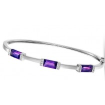 Amethyst and Diamond Bangle Bracelet