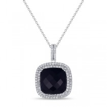 Diamond Halo Black Onyx Pendant