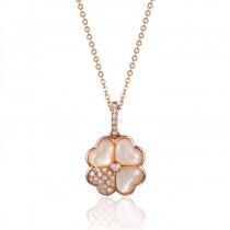 14K Rose Gold  Mother of Pearl and  Diamond Flower Pendant