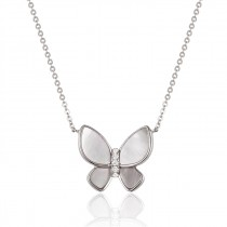 14K White Gold White Mother of Pearl and Diamond Butterfly Pendant
