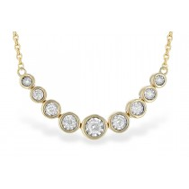 14KT Yellow, White or Pink Gold 0.25CT TW Graduated Illusion Bezel Set Necklace