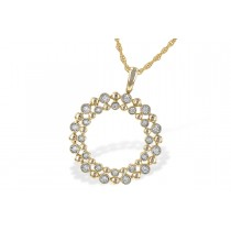 14K Yellow, White, or Pink 0.12CT TW Diamond Champagne Bubbles Double Circle Pendant