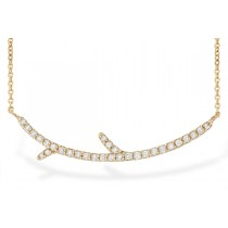 14K Yellow, White or Pink Gold 0.19CT TW Branch Bar Necklace