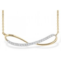 14K Yellow, White or Pink 0.18CT TW Diamond Infinity Style Necklace