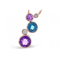 14K Yellow, White or Pink Amethyst, Blue Topaz and Diamond 2.28CT TW Champagne Bubbles Pendant