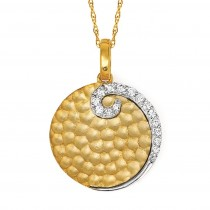 T/T Gold Disc & Diamond Pendant