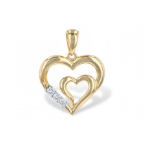 14k Yellow or White 0.06CT TW Diamond Double Heart Pendant