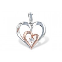 14K White and Rose Gold 0.05CT Diamond Double Heart Necklace
