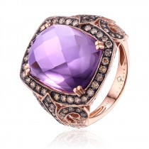 14K Rose Gold Amethyst and Brown Diamond Ring