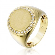 14K Yellow Gold and 0.18CT TW Diamond Signet Style Ring