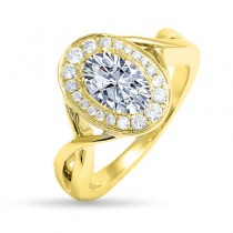 YELLOW GOLD OVAL DIAMOND HALO WITH TWISTED BAND