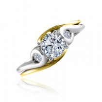 14K T/T DIAMOND ENGAGEMENT RING WITH SIDE STONES