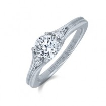 POLISHED WHITE DIAMOND ENGAGEMENT RING WITH DIAMOND ON EACH SIDE
