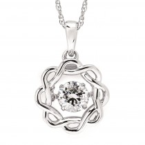 Shimmering Diamond Sunflower Pendant