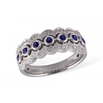 14K White Gold 0.47CT TW Sapphire and Diamond Three Row Wedding Ring with 0.27CT TW of Sapphires Set in Center Row