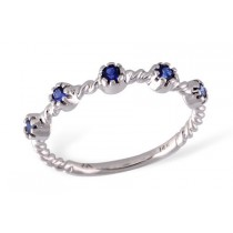 14K White Gold Blue 0.26CT TW Sapphire Prong Set Rope Style Ring