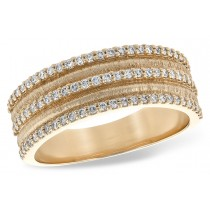 14KT Yellow, White or Pink Gold Multi Row 0.40CT TW Diamond Textured Ring