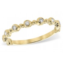 14K Yellow, White or Pink Gold 0.11CT TW Diamond Champagne Bubbles Single Row Ring