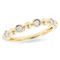 14K Yellow, White or Pink 0.08CT TW Diamond Champagne Bubbles Single Row Ring
