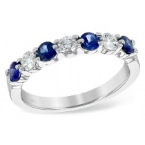 14KT White Gold 0.78CT TW  Sapphire and Diamond seven stone ring
