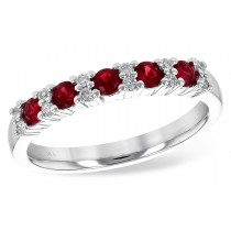 Ladies 14K White or Yellow Gold 0.58CT TW Ruby and Diamond Wedding Band With 0.44CT TW of Rubies