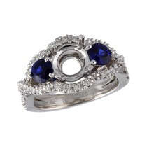 14K White Gold 1.14CT TW Sapphire and Diamond  Engagement Ring Semi Mount With 0.82CT TW of Sapphires (Fits 1.25CT Center Stone)